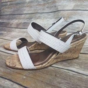 NWB Lifestride cork wedges white size 11M sandals